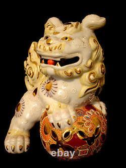 10 1/2H MARKED Kutani JAPANESE SHOWA PERIOD KUTANI TEMPLE LION / SHISHI FOO DOG