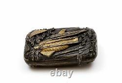 1930's Japanese Mixed Metal Gilt Brass Relief Moriage Match Safe Koi Fish