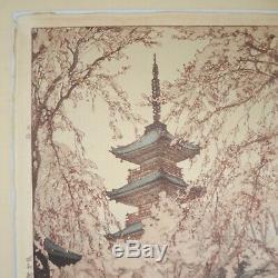 1937 Hiroshi Yoshida Glimpse of Ueno Park Signed Woodblock Lifetime Print Japan