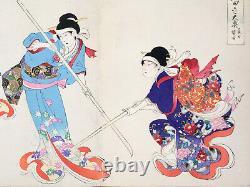 43 Japanese Woodblock Prints Triptychs Album Chiyoda Castle Women by Chikanobu