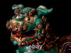 9 MARKED Kutani JAPANESE TAISHO PERIOD KUTANI FOO DOG / SHISHI / TEMPLE LION