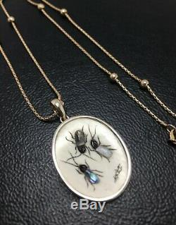9ct Shibayama Insect Necklace Antique Japanese Signed 9ct Unusual QTY Chain 7.3g