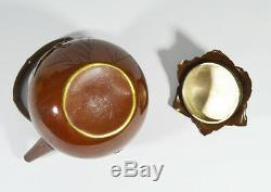 ANITIQUE MEIJI SOFT METAL INLAID SILVER TEAPOT TEA JAPANESE JAPAN 19th Century