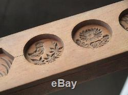 ANTIQUE JAPANESE KASHIGATA Carved Wooden Cake Mold with cover Bird Butterfly