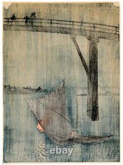 ARAI YOSHIMUNE A Fishing Boat antique Japanese Woodblock Print