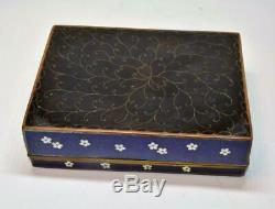 Antique 1800s Japan late Meiji period brass cloisonné enamel cigarette box RARE