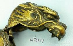 Antique 1890's Brass Match Safe Vesta Case Box Japanese Figural Dragon