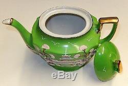 Antique 18 Piece Japanese Porcelain Tea Set Tt Takito Green Moriage Dragonware
