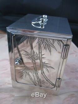 Antique 1940's Japanese Kodansu Chest, 950 Sterling Silver Japan Old Jewelry Box