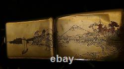Antique 19c Japanese Sterling Silver Cigarette Caselandscaping With Harbor Fuji