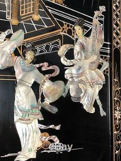 Antique 4 PANEL ASIAN JAPANESE Carrved Mother of Pearl / Vintage MOP Geshia