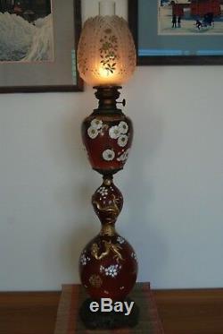 Antique Art Nouveau Japanese Chinese Porcelain Flower Kerosene Dragon Oil Lamp