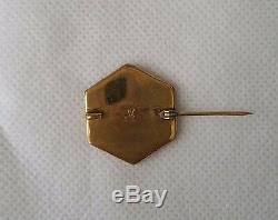 Antique Brooch Lover Couple Pin Japanese Shakudo Gold Silver Metal Meiji Era