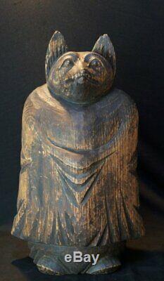 Antique Buddhist sculpture rural Japan Tanuki monk Kibori wood carving 1800