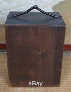 Antique Chabako Tea Ceremony box ceramic Shino-Chawan 1900 Japan craft
