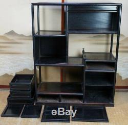 Antique Chadansu Japanese furniture 1890s hard wood cabinet Tansu craft