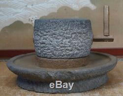 Antique Chausu Japan millstone green tea mill 1800s Japanese sculpture craft