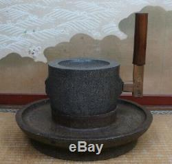 Antique Chausu Japan millstone green tea powder mill 1800s Japanese stone craft
