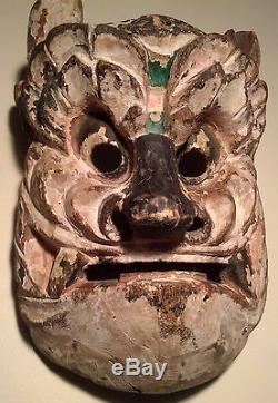 Antique, DANCED, Japan/Japanese Wooden OWL Mask -Ethnographic/Cultural Asset