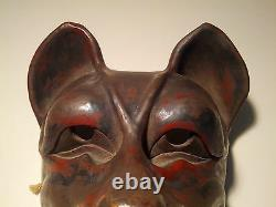 Antique, Danced, withPatina Japanese Kitsune (Fox) Mask withArticulating Jaw -SIGNED