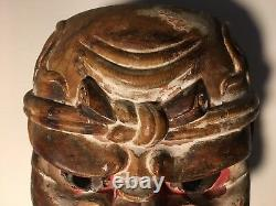 Antique, Ethnographic, Ni Guardian Kongrikishi  Wooden Japanese Mask