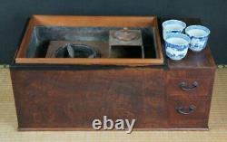 Antique Japan Nagahibachi bracer cabinet 1900 Tansu furniture