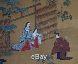 Antique Japan wind screen painting Ohinesama Byobu 1800s Edo art