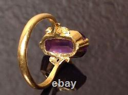 Antique Japanese Art Deco 22k Yellow Gold Pink Sapphire Ring ca. 1930s
