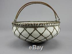 Antique Japanese Awaji Pottery Bowl Basket Woven Silver Bronze Overlay Japan