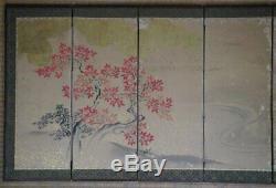 Antique Japanese Byobu wind screen 1880 Japan interior painting