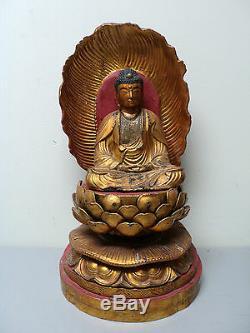 Antique Japanese Carved Gilt Wood 16.75 BUDDHA Figure & Shrine