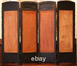 Antique Japanese Folding Screen Four Panels, Handcarved