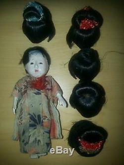 Antique Japanese Gofun Doll With 5 Wigs Over 95 Years Old