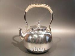 Antique Japanese KANJI old silver bottle Tea Kettle teapot Chagama