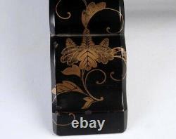 Antique Japanese Kimono display rack Black Gold lacquer wood F/S