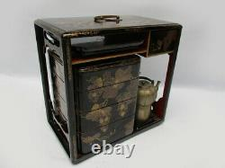 Antique Japanese Lacquer Maki-e Picnic Lunch Box Jubako with Sake Bottles Edo