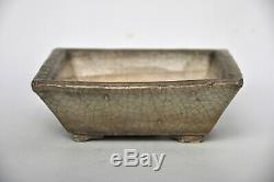 Antique Japanese Shigaraki White Green Crackle Glazed Square Bonsai Pot Patina