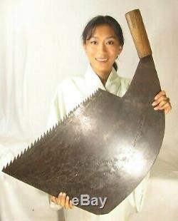 Antique Japanese Signed Tool Forged Iron Huge Maebiki Nokogiri Whaleback Saw