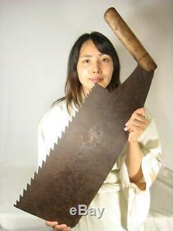 Antique Japanese Signed Tool Forged Iron Maebiki Nokogiri Timber Saw
