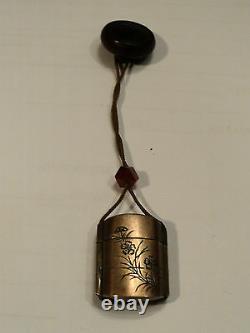 Antique Japanese Single Case Gilt Bronze Inro, Amber Ojime, Wooden Netsuke
