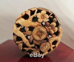 Antique Japanese Stag Antler Ryusa Manju Netsuke Friends Pine Plum Bamboo Japan