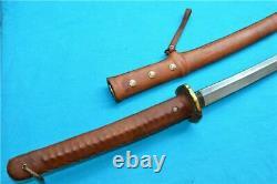 Antique Japanese Sword Katana Samurai Damascus With Sheath HandMade Full leather