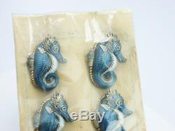 Antique Japanese Toshikane China Seahorse Buttons Mint Original Package Japan