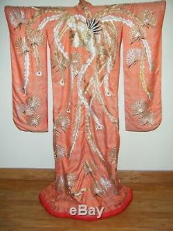 Antique Japanese Uchikake Wedding Kimono with Embroidered Phoenix & Shibori