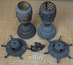 Antique Japanese bronze Buddhist lamp 1890s Japan Buddhist shrine