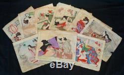 Antique Japanese fine Shunga erotic art wood block print 1880s Japan original