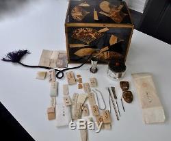 Antique Lacquer Box Case Meiji Japan Agarwood Kodo Set Silver Incense Burner 19c