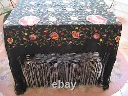 Antique Large Black Silk Embroidered Floral Pink Roses Canton Piano Shawl Scarf