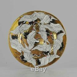 Antique Meiji 19th c Japanese Porcelain Crane plate Vase ladscape Marke
