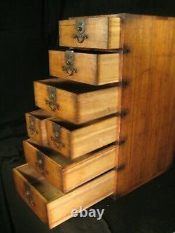 Antique Meiji Era Japanese 7 Drawer Kiri Wood Gyosho-bako Tansu Peddlers Chest